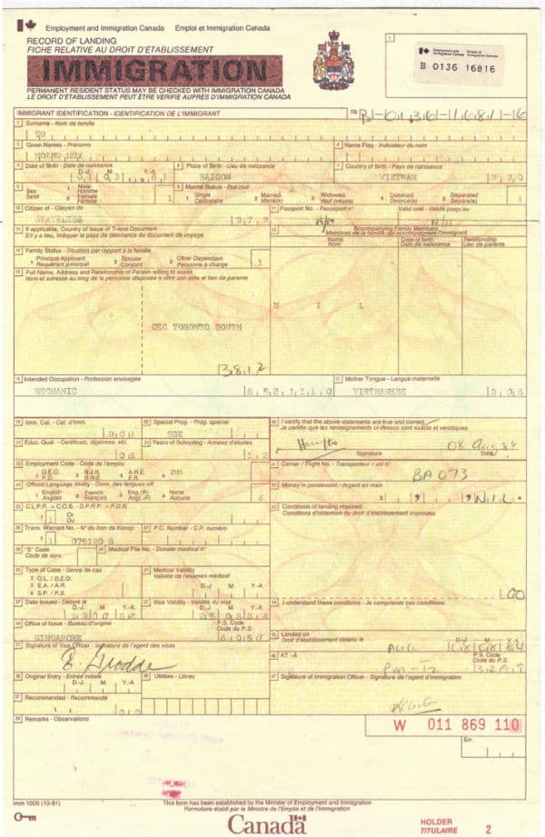 Immigration Document